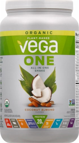 Vega One Coconut Almond All-in-One Shake Drink Mix Perspective: front
