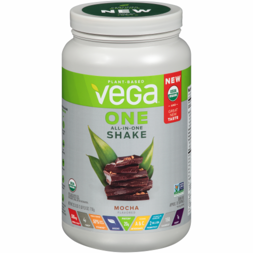 Vega One Organic Mocha Flavored All-in-One Shake Drink Mix Perspective: front