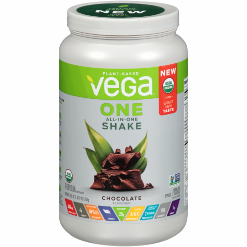 Vega One Organic Chocolate Flavored All-In-One Shake Drink Mix Perspective: front