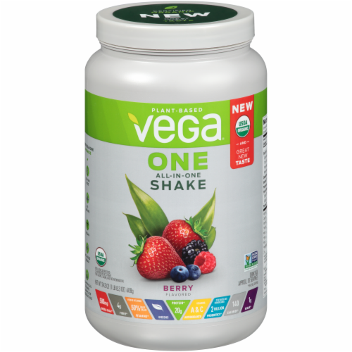 Vega Organic Berry All-in-One Shake Drink Mix Perspective: front