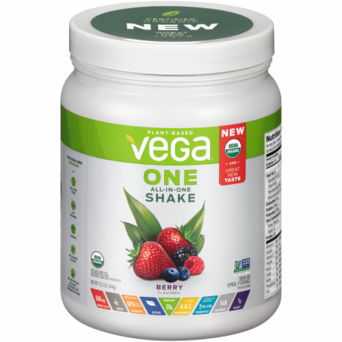 Vega One Berry Flavored All-in-One Shake Drink Mix Perspective: front