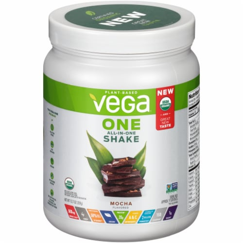 Vega One Mocha Flavored All-in-One Shake Drink Mix Perspective: front