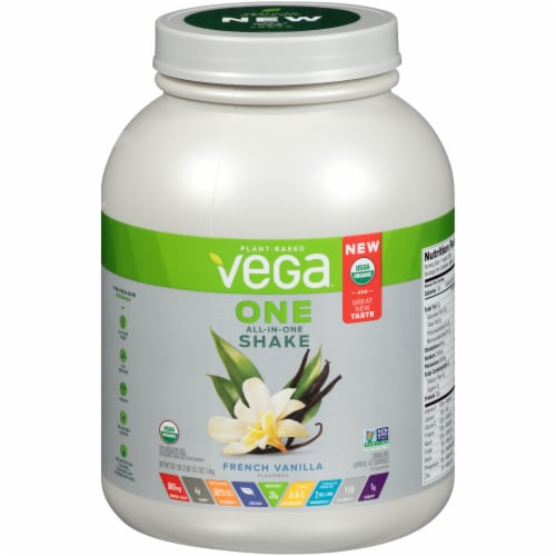 Vega One Organic All-In-One French Vanilla Shake Drink Mix Perspective: front