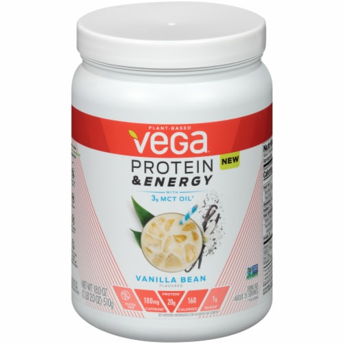 Vega Protein & Energy Vanilla Bean Drink Mix Perspective: front