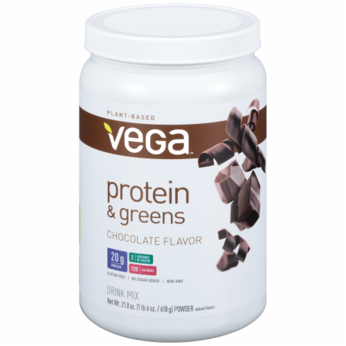 Vega Protein & Greens Plant-Based Chocolate Flavored Drink Mix Powder Perspective: front