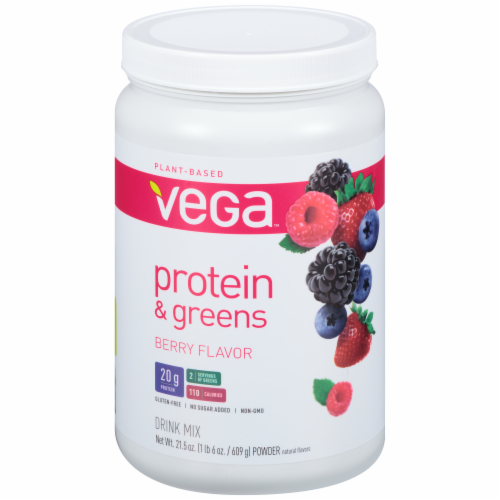Vega Protein & Greens Plant-Based Berry Flavored Drink Mix Powder Perspective: front