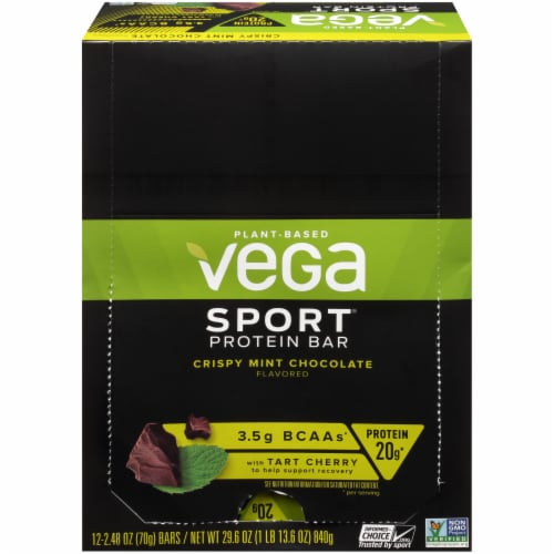 Vega Sport Crispy Mint Chocolate Protein Bar Perspective: front