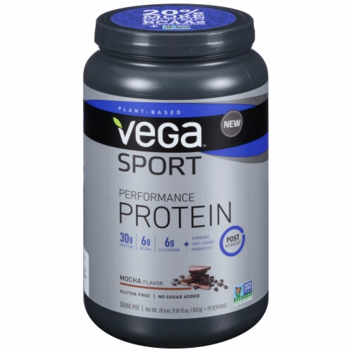 Vega Sport Plant-Based Performance Protein Mocha Drink Mix Powder Perspective: front