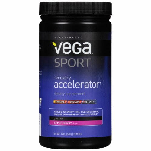 Vega Sport Plant-Based Recovery Accelerator Apple Berry Powder Perspective: front