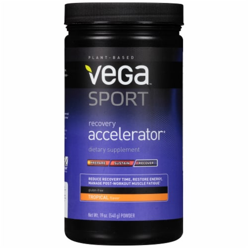 Vega Sport Plant-Based Recovery Accelerator Tropical Powder Perspective: front