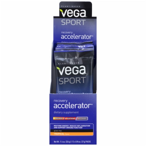 Vega Sport Plant-Based Recovery Accelerator Tropical Powder Packs 12 Count Perspective: front