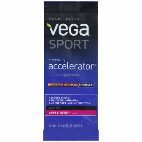 Vega Sport Plant-Based Recovery Accelerator Apple Berry Powder Packet Perspective: front