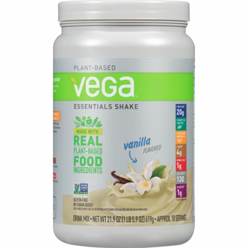 Vega Essentials Shake Plant-Based Vanilla Protein Drink Mix Powder Perspective: front