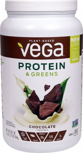 Vega Protein & Greens Chocolate Drink Mix Perspective: front