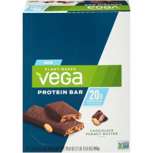 Vega Chocolate Peanut Butter Protein Bars 12 Count Perspective: front