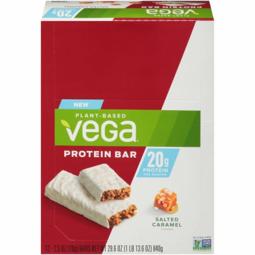 Vega Salted Caramel Protein Bars 12 Count Perspective: front