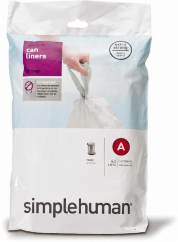 Simplehuman Code A Custom-Fit Trash Can Liner - White Perspective: front