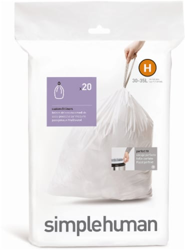 simplehuman Custom Fit Liner Code H - 20 Pack - White Perspective: front