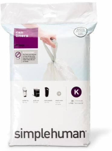 Simplehuman Code K Custom-Fit Trash Can Liner - 20 pk - White Perspective: front