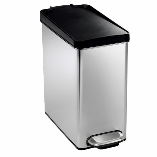 simplehuman Profile Step Trash Can - Brushed Steel Perspective: front