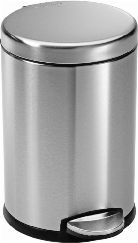 Simplehuman Round Step Trashcan - Brushed Steel Perspective: front