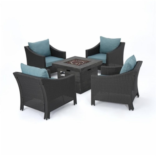 Noble House Malta Outdoor Black Loveseat & Coffee Table Set w/ White Cushions Perspective: front