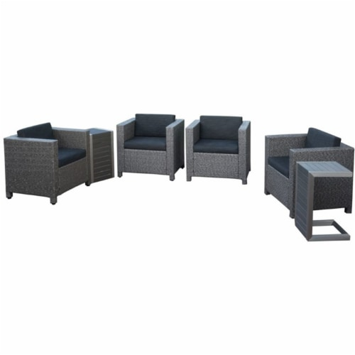 Noble House Puerta 6 Piece Outdoor Wicker Chair and Blended Wood Table Set Perspective: front