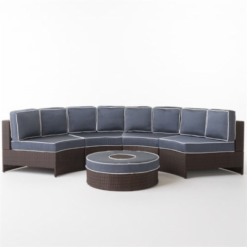Noble House Madras Saint Luca 5 Piece Outdoor Wicker Sectional Sofa Set in Navy Perspective: front