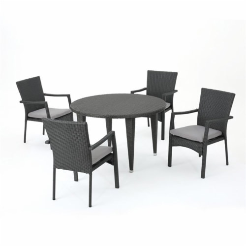 Noble House Mussel Rock 5 Piece Outdoor Wicker Dining Set in Gray Perspective: front