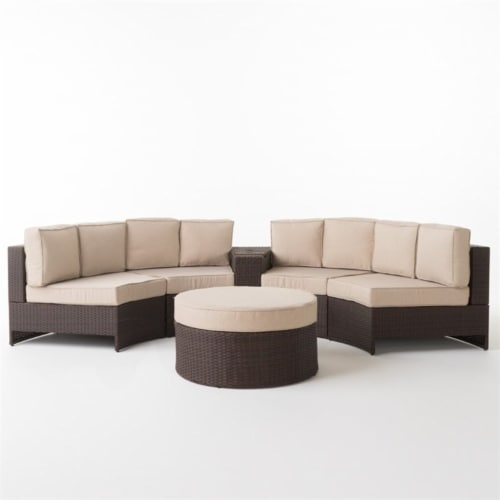 Noble House Madras Zanzibar 6 Piece Outdoor Wicker Sectional Sofa Set in Beige Perspective: front