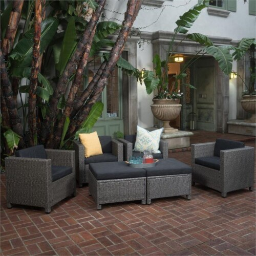 Noble House Puerta Outdoor 6 Pc Wicker Club Chair & Ottoman Set Gray Perspective: front