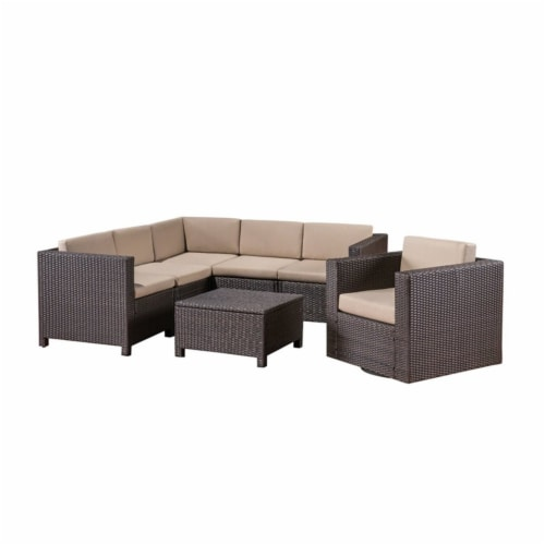 Puerta 6 Seater Wicker V-Shaped Sofa and Swivel Chair Set - Beige Cushions Perspective: front