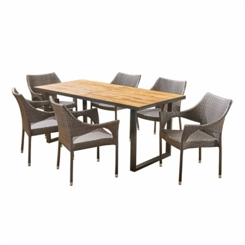 Noble House Welch 7 Piece Outdoor Acacia Wood and Wicker Dining Set in Teak Perspective: front