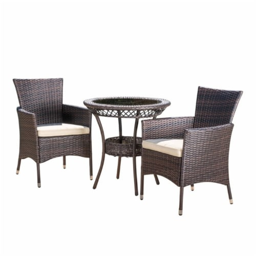 Noble House Parker 3 Piece Outdoor Bistro Set in Brown Perspective: front