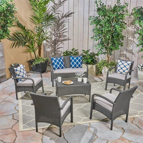 Noble House Cordoba Set 6-Seater w/ Loveseat Club Chairs & Coffee Table Gray Perspective: front