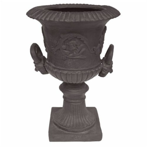 Noble House Adonis Outdoor Roman Chalice Garden Urn Planter in Antique Gray Perspective: front
