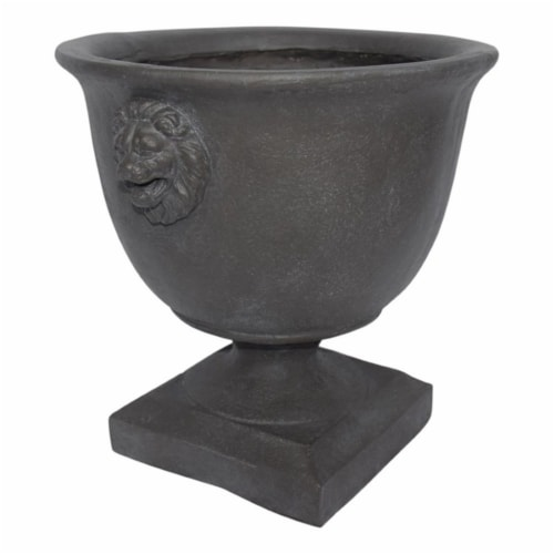 Noble House Simba Outdoor Roman Chalice Garden Urn Planter in Antique Gray Perspective: front
