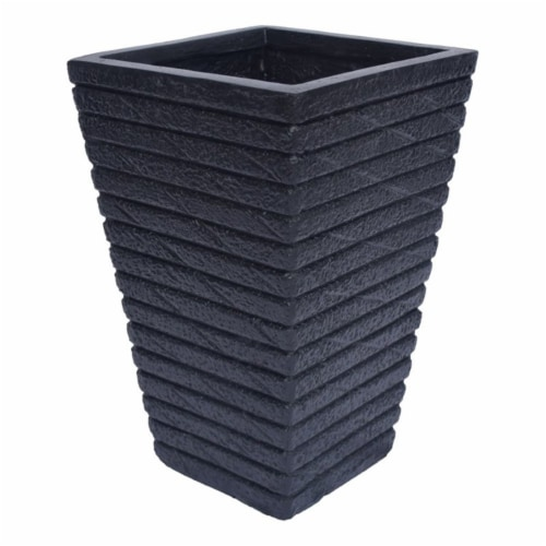 Noble House Jude Outdoor Tapered Channel Square Garden Urn Planter in Black Perspective: front