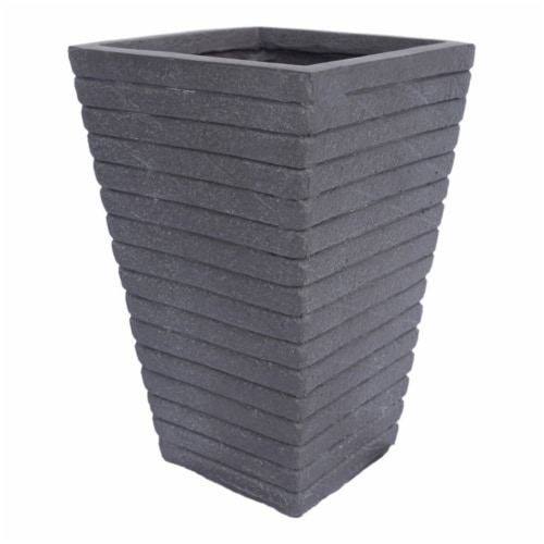 Noble House Jude Outdoor Tapered Channel Square Garden Urn Planter in Gray Perspective: front