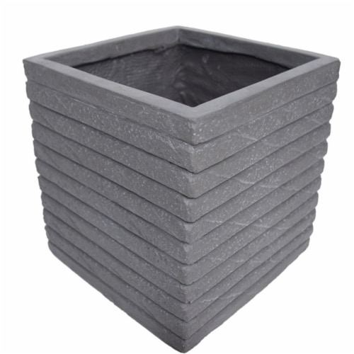 Noble House Kaden Outdoor Channel Square Garden Urn Planter in Antique Gray Perspective: front