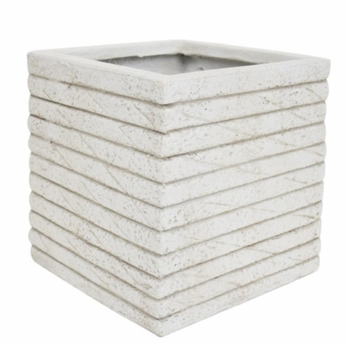 Noble House Kaden Outdoor Channel Square Garden Urn Planter in Antique White Perspective: front