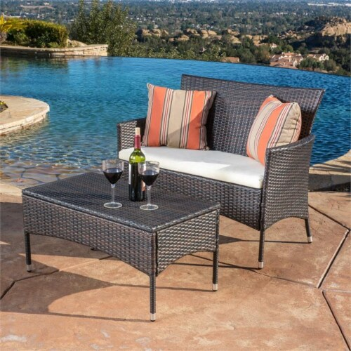 Noble House Malta Multi-Brown 2 Pc Outdoor Set Perspective: front