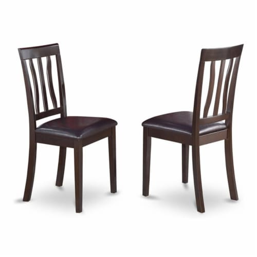 East West Furniture Antique 39  Leather Dining Chairs in Cappuccino (Set of 2) Perspective: front
