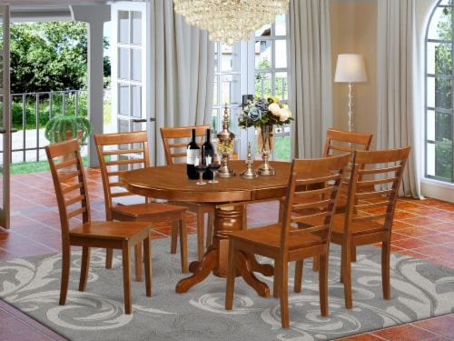 East West Furniture Avon 7-piece Wood Dining Set with Oval Table in Saddle Brown Perspective: front