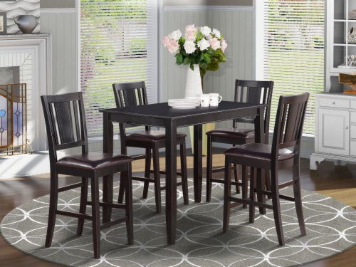5 Pc Counter height Table set-counter height Table & 4 Kitchen counter Chairs Perspective: front