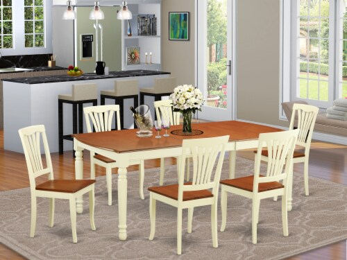 DOAV7-WHI-W 7 Pc dinette Table set -Kitchen dinette Table and 6 Dining Chairs Perspective: front