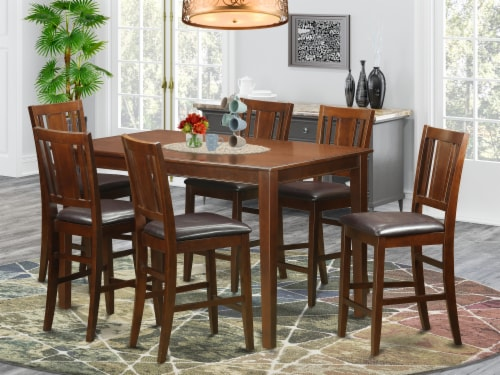 East West Furniture Dudley 7-piece Wood Counter Height Dining Set in Mahogany Perspective: front