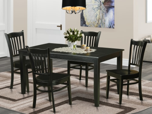 DUGR5-BLK-W 5 Pc Dining room set - Dinette Table and 4 Kitchen Dining Chairs Perspective: front