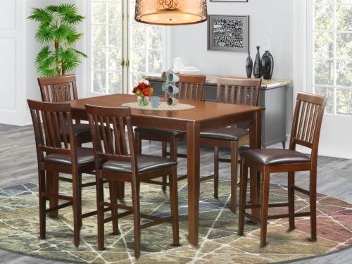 East West Furniture Dudley 7-piece Wood Dining Set with Stools in Mahogany Perspective: front