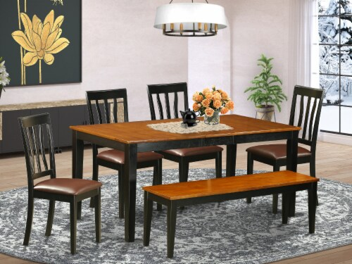 East West Furniture Nicoli 6-piece Wood Kitchen Table Set in Black/Cherry Perspective: front